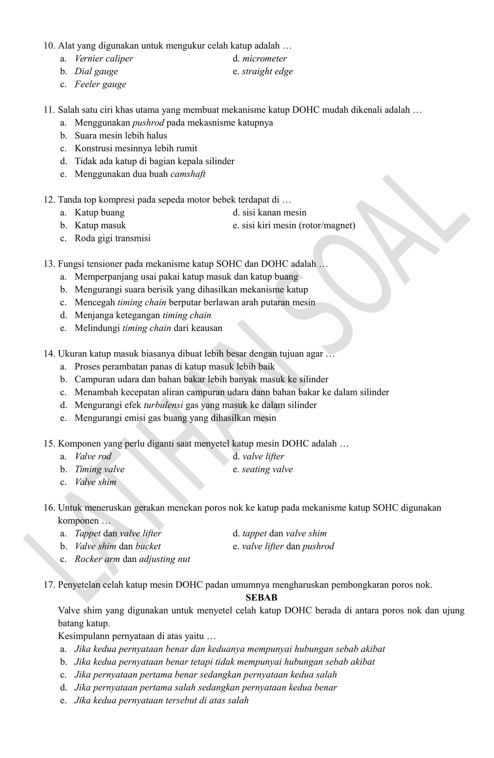 Latihan Soal Pemeliharaan Mesin Sepeda Motor Automotive Class